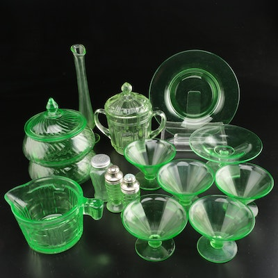 Green Depression Glass Table Accessories
