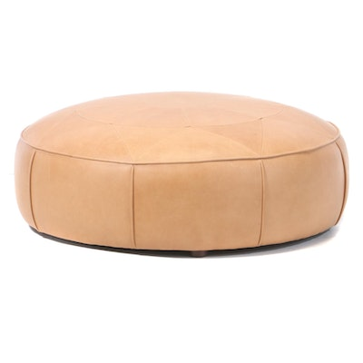 Article Tan Leather Ottoman