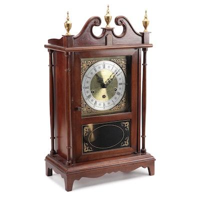 Heritage Clock Co. Bespoke Mahogany Finish Pillar and Scroll Clock, 1980