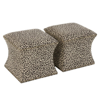 West Elm Black and Beige Leopard Pattern Vanity Stools with Nailhead Trim