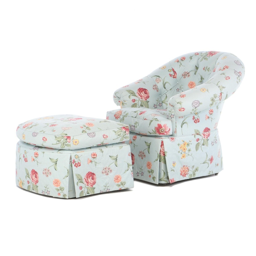 Floral-Upholstered Armchair and Footstool, Late 20th Century