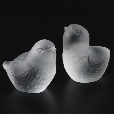 Baccarat Frosted Crystal Bird Figurines