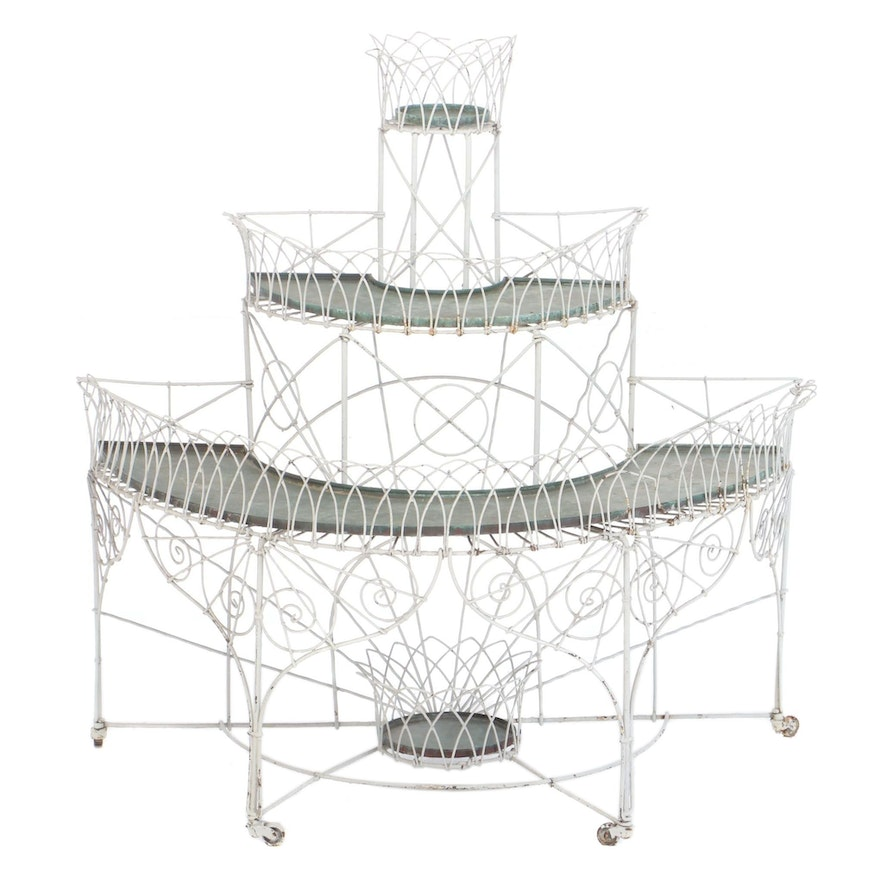 Late Victorian White-Painted Wirework Demilune Plant Stand with Copper Trays