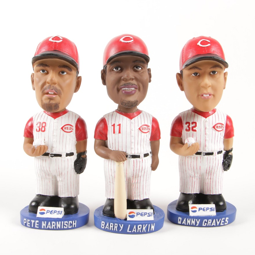 Larkin, Harnisch and Graves 2002 Pepsi Bobbleheads with Boxes