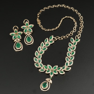 EFFY 14K 9.94 CTW Emerald and 4.53 CTW Diamond Necklace and Earring Set