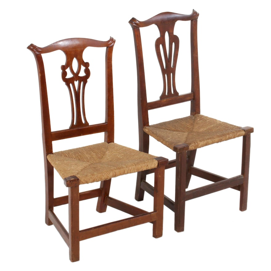 Two Country Chippendale Side Chairs, 18th/19th Century