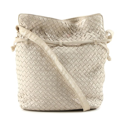 Bottega Veneta Intrecciato Beige Leather Shoulder Bag, Vintage