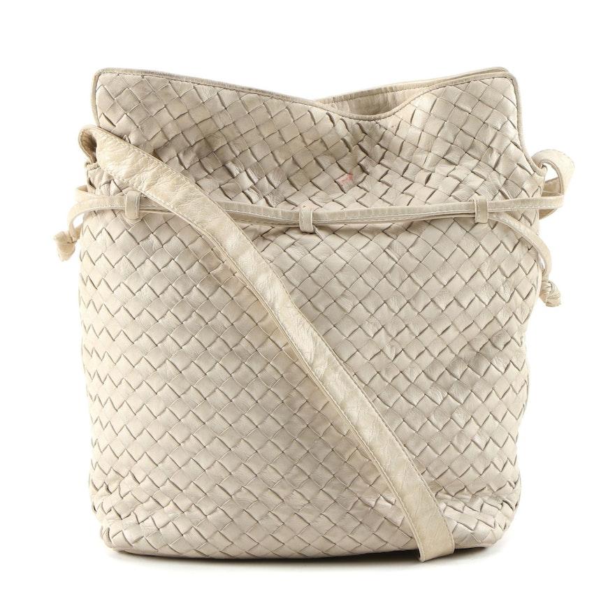 Bottega Veneta Intrecciato Beige Leather Shoulder Bag, Vintage