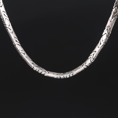 14K White Gold Fancy Hinged Link Necklace