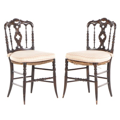 Pair of Provincial Style Walnut-Stained Ballroom Side Chairs, 20th Century