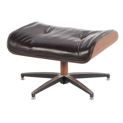 Mid Century Modern Walnut, Steel, and Faux-Leather Ottoman in the Style of Eames