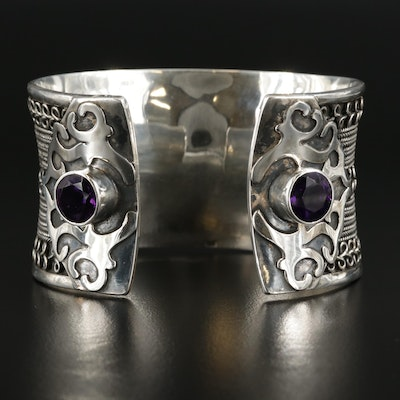 Sterling Silver Anticlastic Amethyst Cuff Bracelet with Wire Applique Design