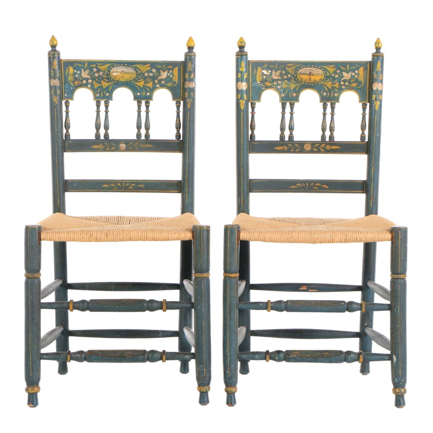 Pair of Paint-Decorated Side Chairs, 19th/20th Century