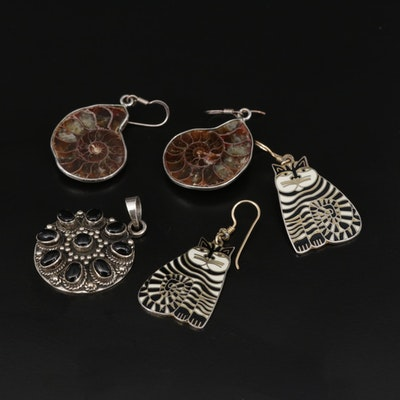 Sterling Ammonite, Black Onyx and Enamel Jewelry Featuring Laurel Burch
