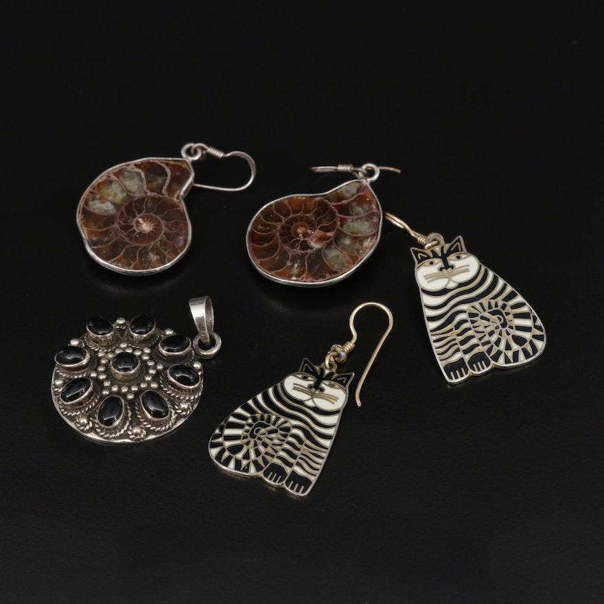 Sterling Ammonite, Black Onyx and Enamel Jewelry Featuring Laurel Burch