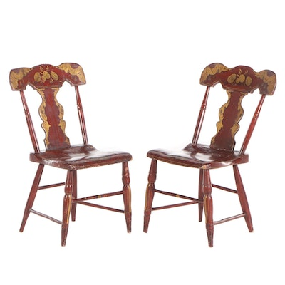 Pair of American Fancy Painted Side Chairs, Probably Pennsylvania, 19th Century