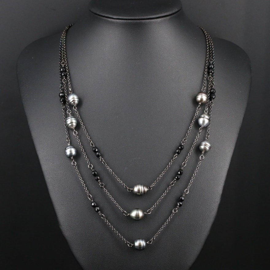 Sterling Silver Pearl and Black Onyx Triple Strand Necklace