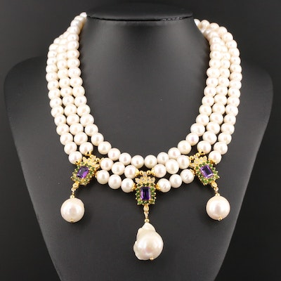 Sterling Pearl, Amethyst and Diopside Multi-Strand Necklace