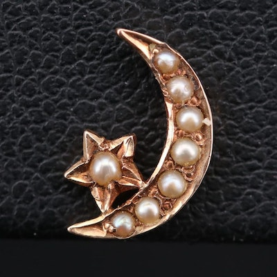 Vintage 14K Yellow Gold Seed Pearl Crescent Moon and Star Pin