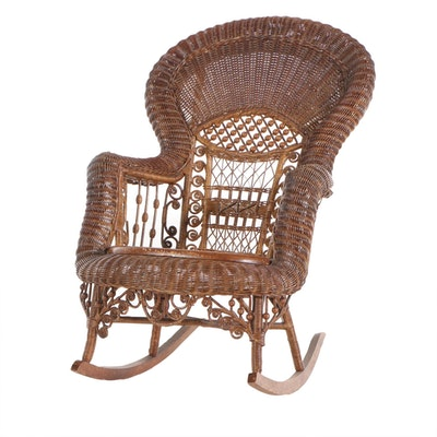 Late Victorian Wicker Rocking Chair, Early 20th Century