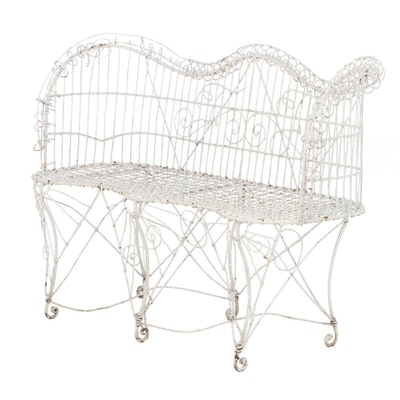 Late Victorian White-Painted Wirework Garden Settee