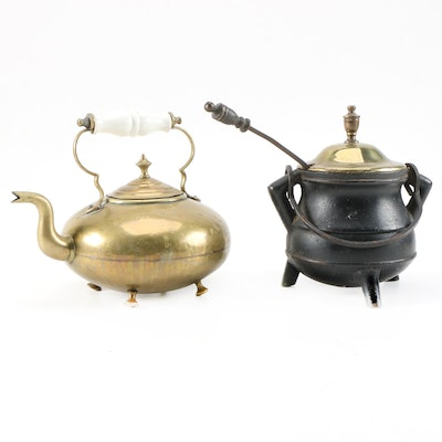James Clews Brass Toddy Kettle and Cast Iron Fire Starter Pot