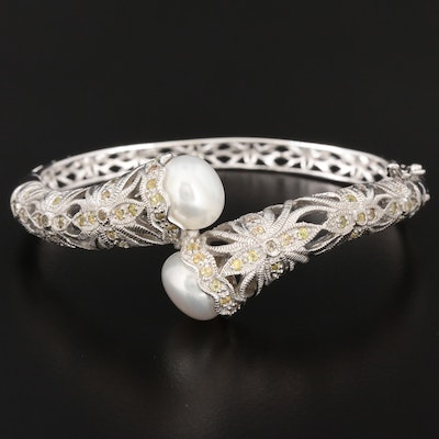 Sterling Silver Cultured Pearl and Sapphire Openwork Bypass Bracelet