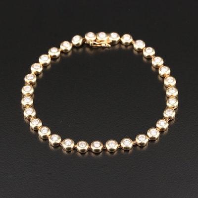 14K Yellow Gold 3.02 CTW Diamond Bezel Line Bracelet