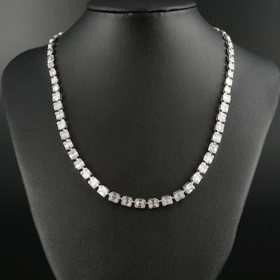 18K White Gold 10.02 CTW Diamond Necklace