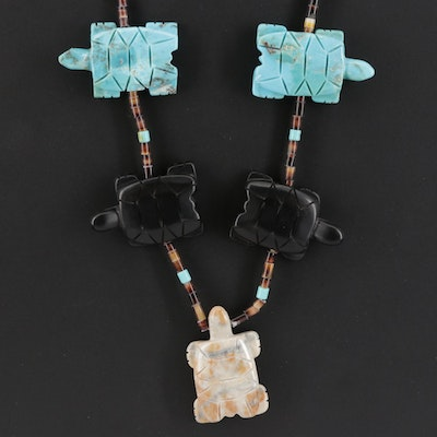 Southwestern Carved Jasper, Horn and Turquoise Turtle Fetish Necklace