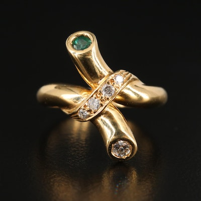 18K Yellow Gold Diamond and Emerald Bypass Ring