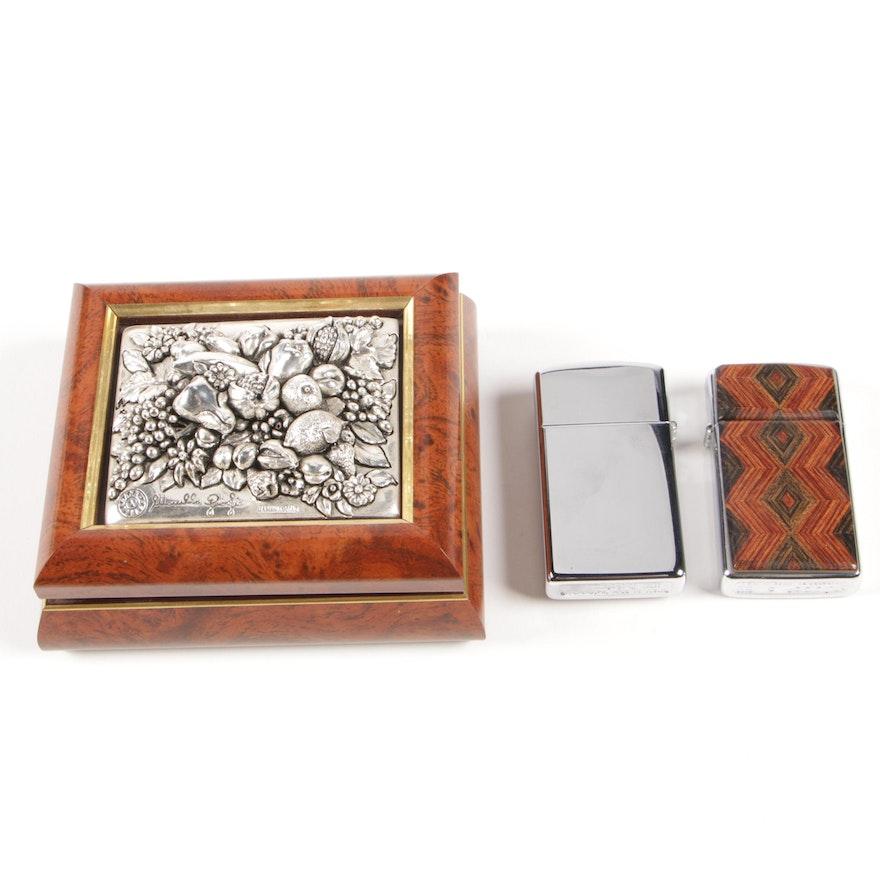 Marcello Giorgio Silver Collection Trinket Box and Wood Accent Zippo Lighters
