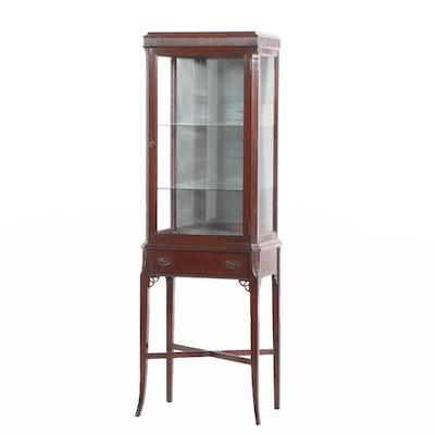 Hepplewhite Style Mahogany Illuminated Vitrine Cabinet, Circa 1940