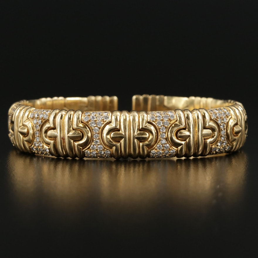 18K Yellow Gold 3.16 CTW Diamond Tubogas Bracelet