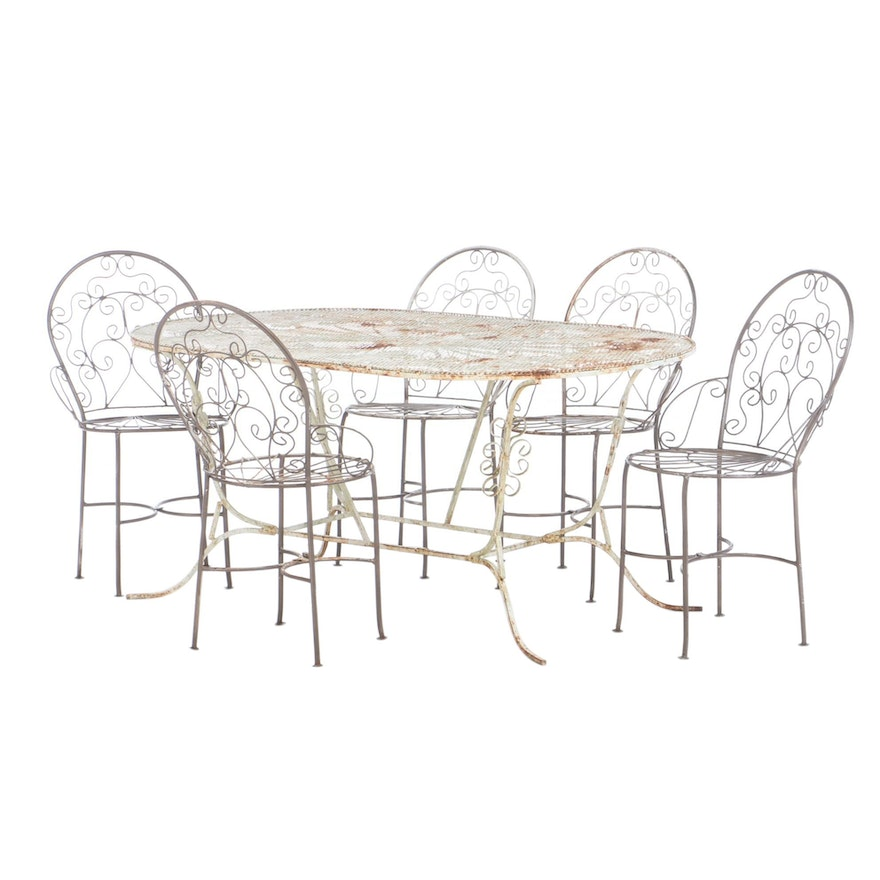 Painted Wroght Iron Patio Dining Set, Late 20th Century