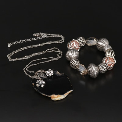 Glass, Agate, Rhinestone and Onyx Stretch Bracelet and Pendant Necklace