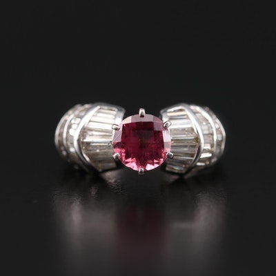 Bijoux D'Armour 18K White Gold Tourmaline and 0.99 CTW Diamond Ring
