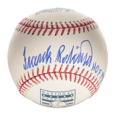 Frank Robinson Signed Major League Baseball, Hall of Fame Logo