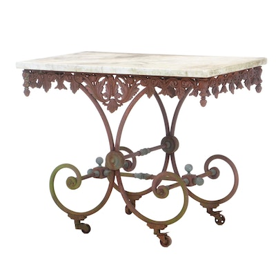 French Iron and White Marble Baker's Table, Late 19th/20th Century