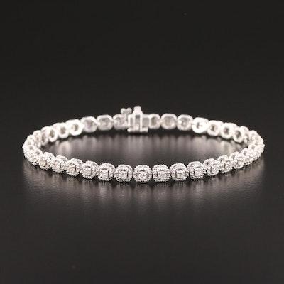 14K White Gold 1.33 CTW Diamond Bracelet
