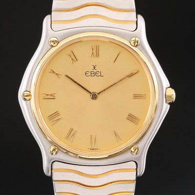 Ebel Classic Wave 18K Gold and Stainless Steel Quartz Wristwatch