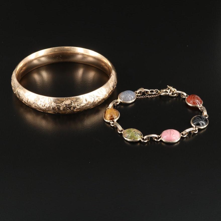 Tiger's Eye and Gemstone Scarab Bracelet With Floral Hinged Bangle Bracelet