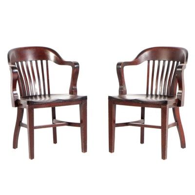 "B.L. Marble Company Pair of Birch ""Bankers"" Arm Chairs, Early 20th Century"