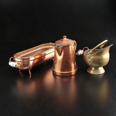 Copper and Brass Coffee Pot, Scuttle and Planter