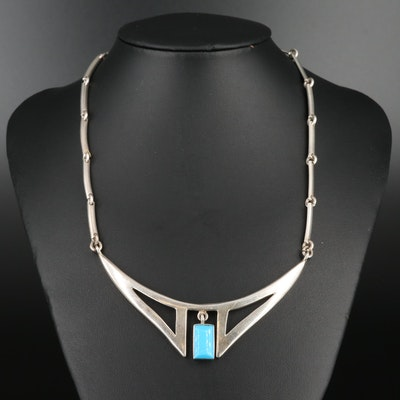 Mexican 950 Silver Necklace Featuring Imitation Turquoise Necklace