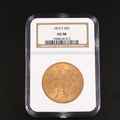 NGC Graded AU58 1872-S Liberty Head $20 Gold Coin