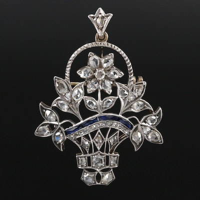 Victorian 10K Diamond and Synthetic Sapphire Basket Brooch with Sterling Front
