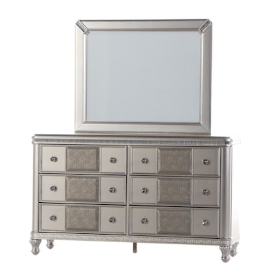 Contemporary Silver-Painted and Mirror-Trimmed Dresser
