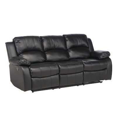 Contemporary Faux Leather Pillow Back Reclining Sofa