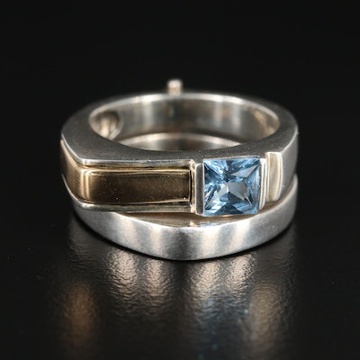 Sterling Silver Synthetic Spinel Hinged Ring with 18K Yellow Gold Accent